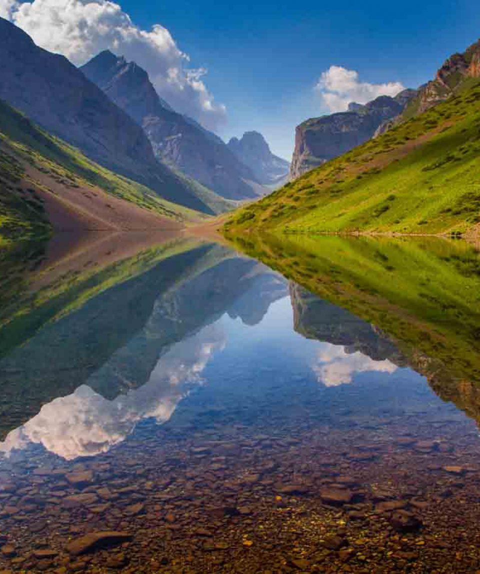Still water of Kyol-Tor lake